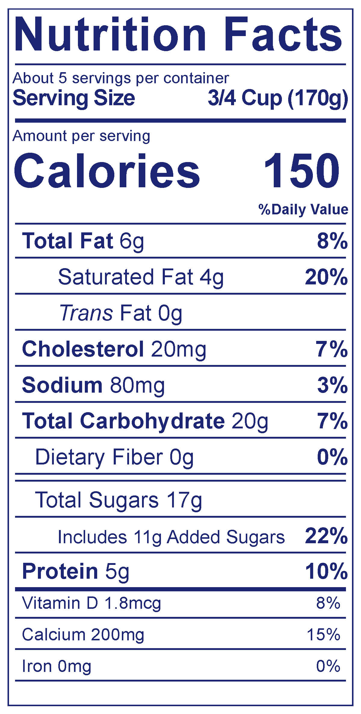 Whole Milk Smooth & Creamy Vanilla - Nutrition Facts
