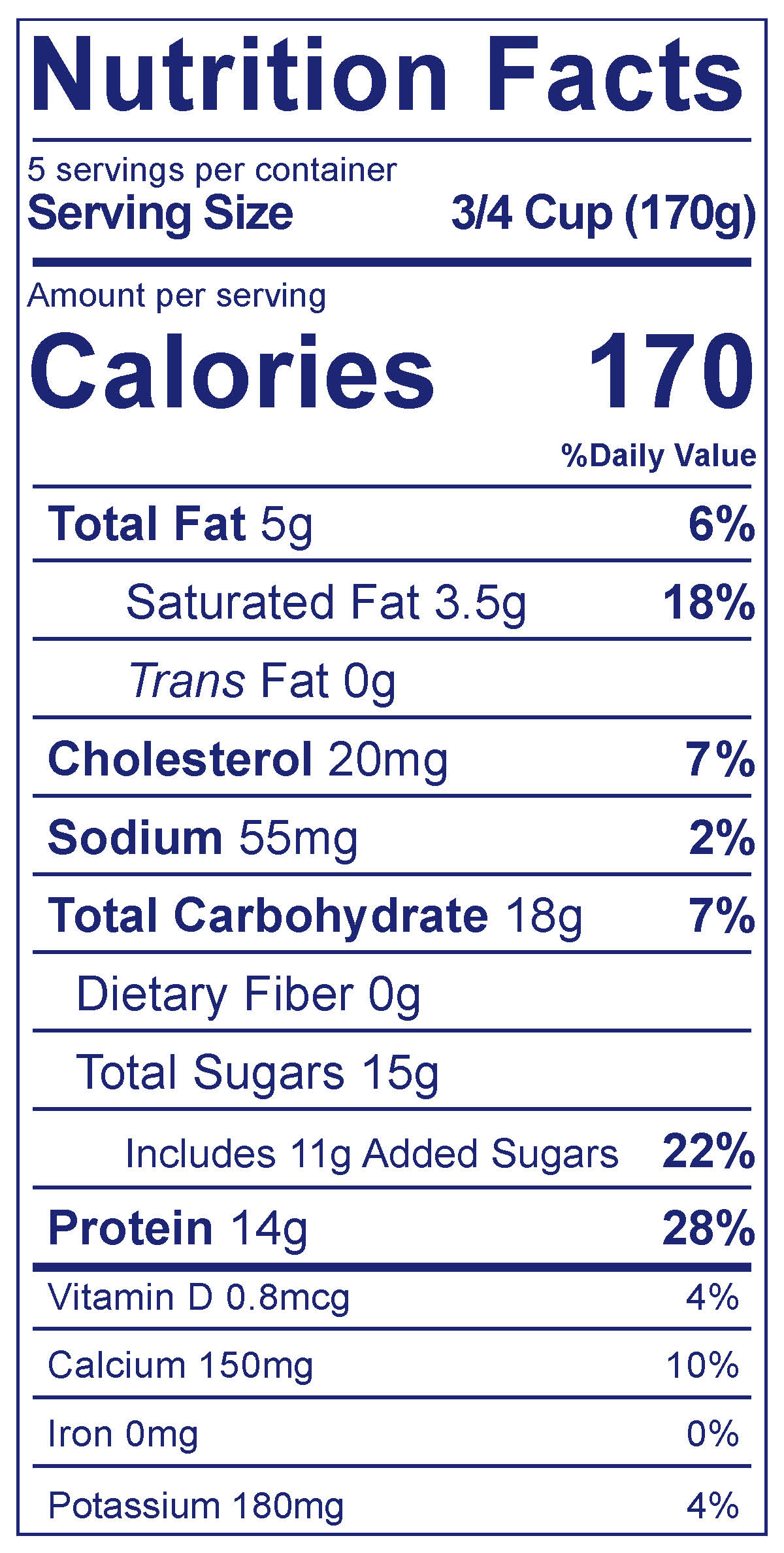 Whole Milk Greek Vanilla Bean - Nutrition Facts