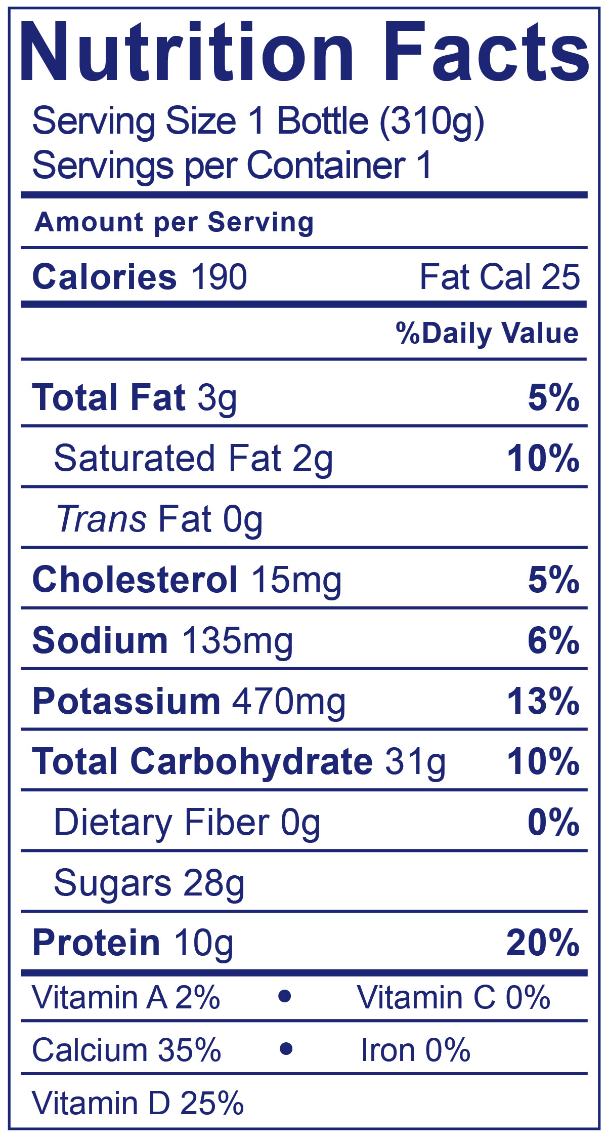 Low Fat Peach Smoothie - Nutrition Facts