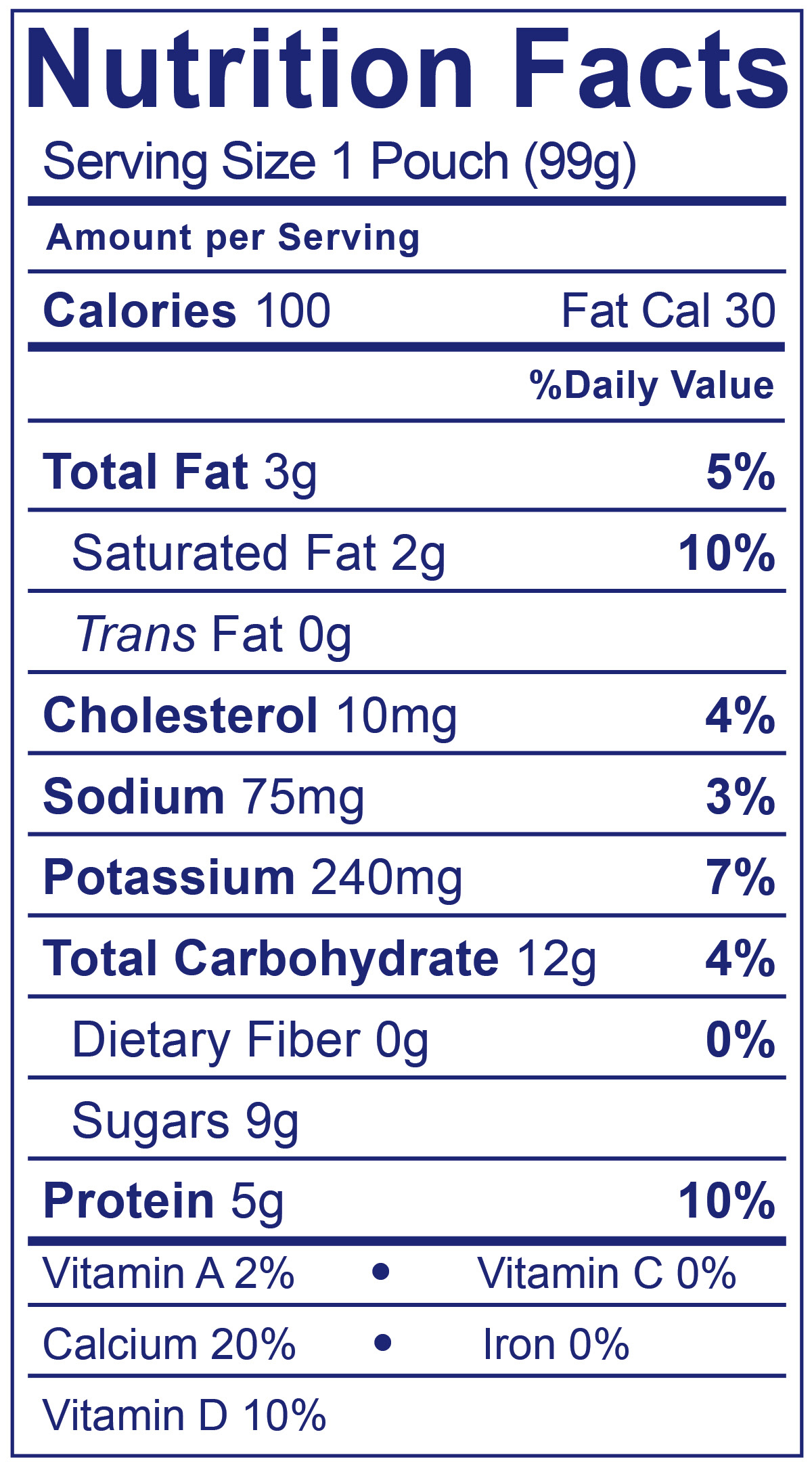 Whole Milk Yogurt Pouch Vanilla - Nutrition Facts