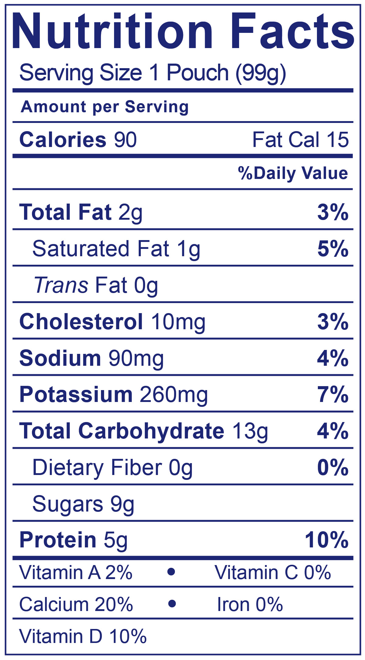 Kids Low Fat Pouches Blueberry - Nutrition Facts