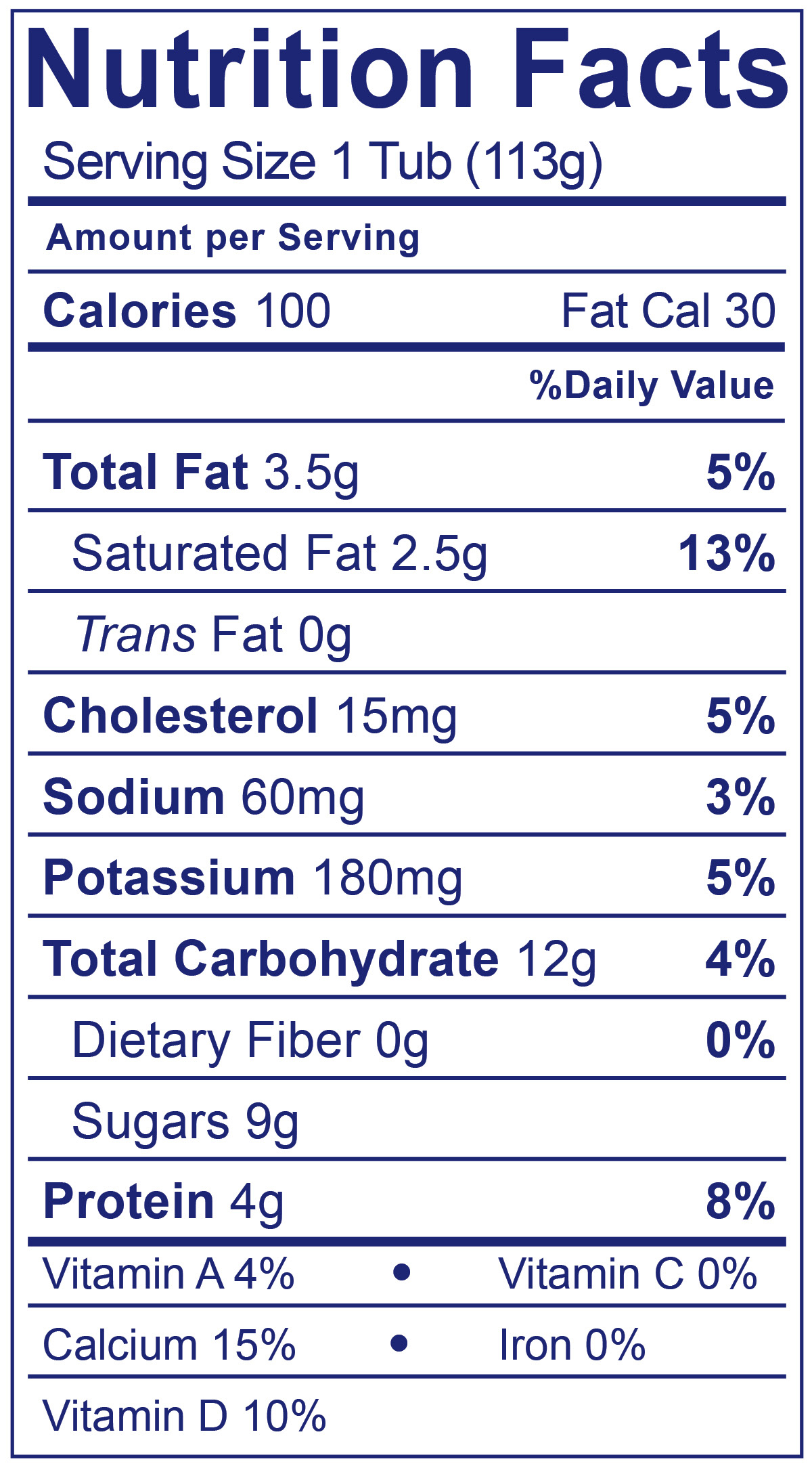 Kids Whole Milk Raspberry Pear  - Nutrition Facts