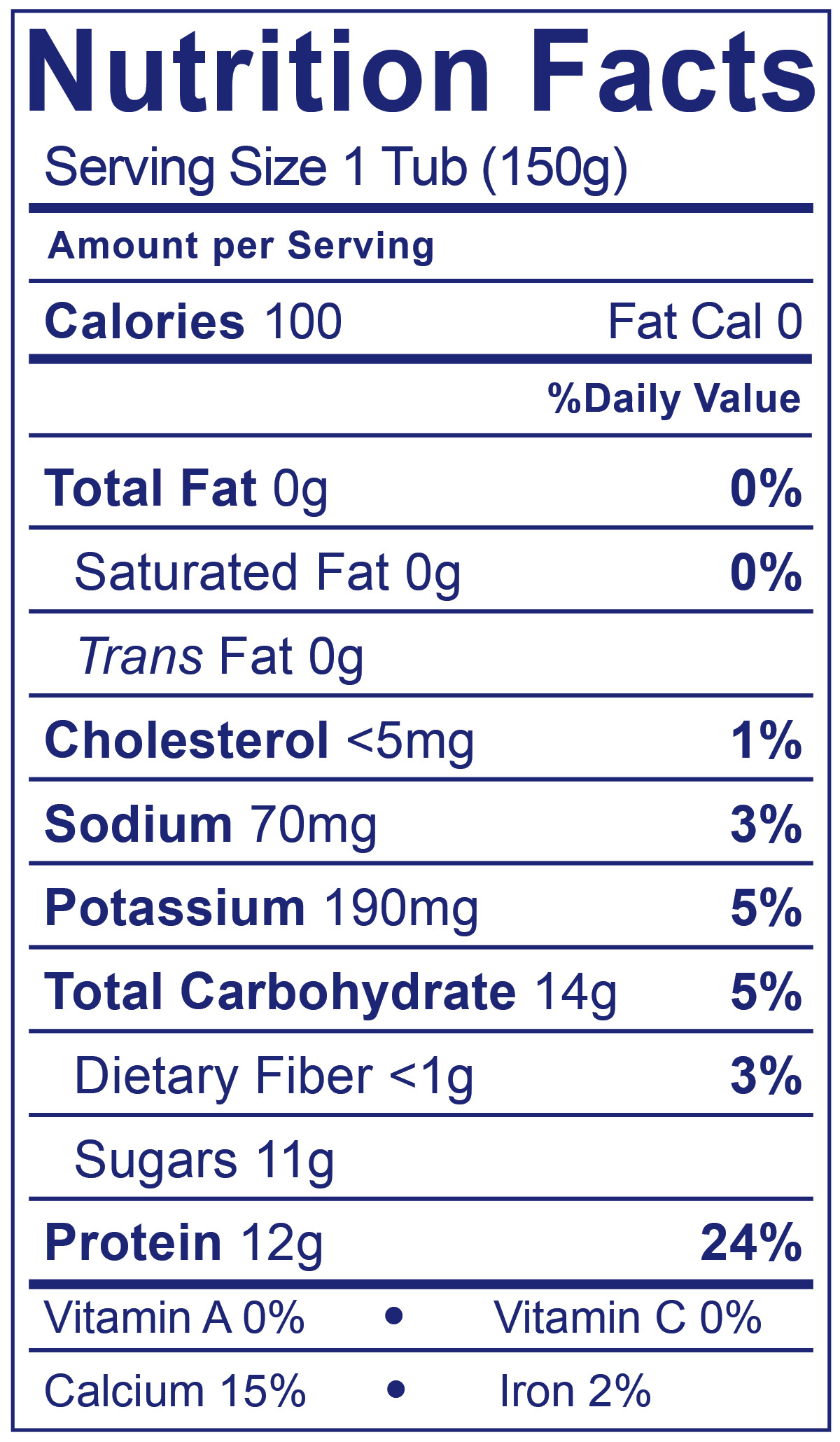 0% Fat Greek Blueberry - Nutrition Facts