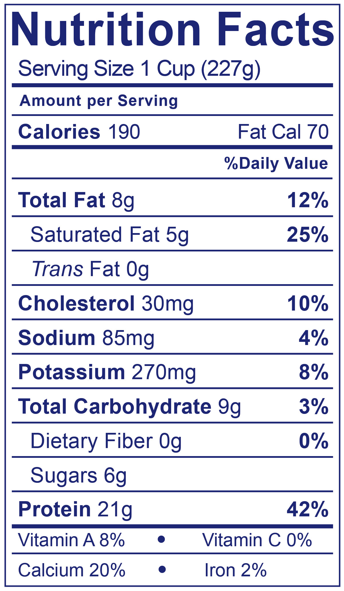 Whole Milk Greek Plain - Nutrition Facts