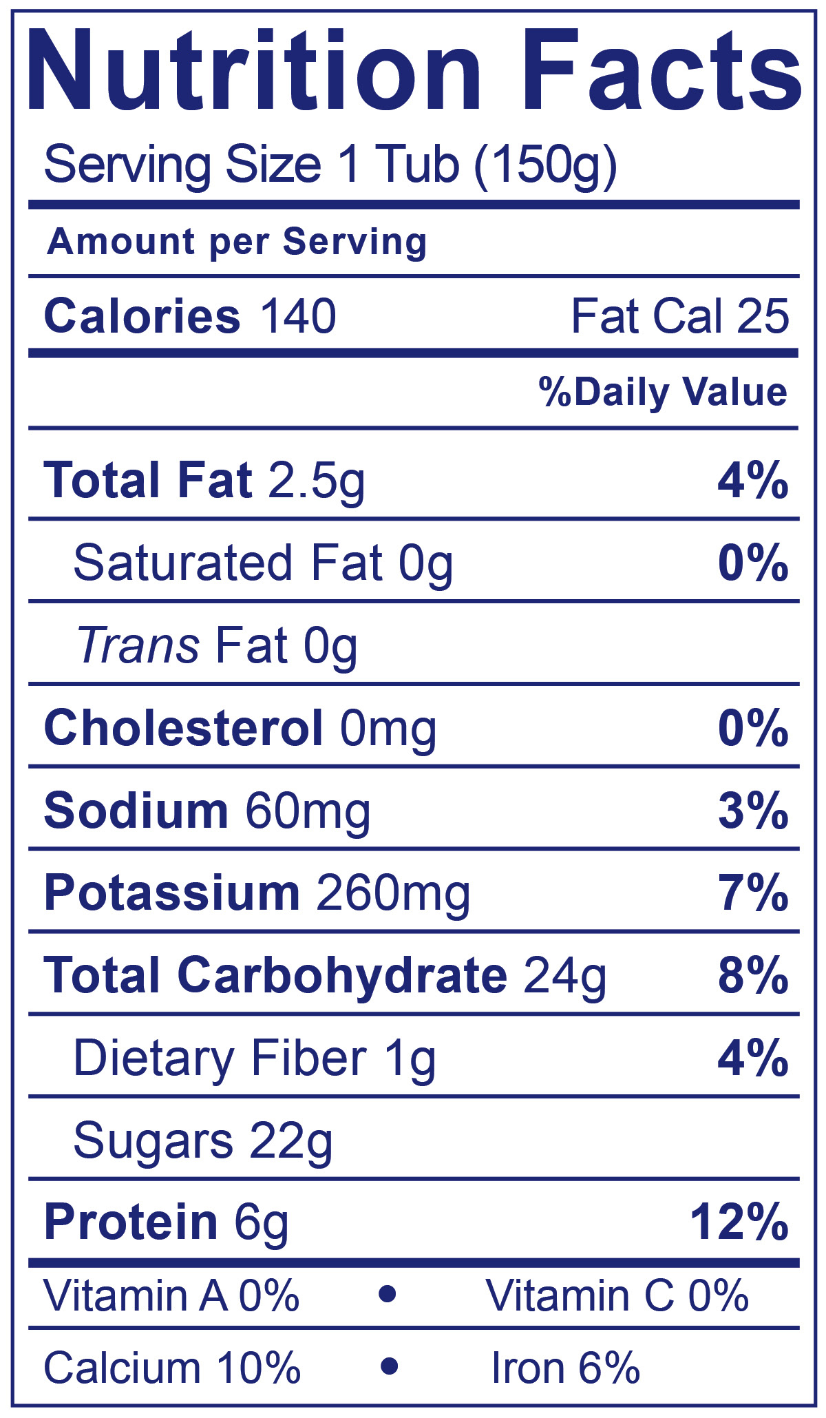 Dairy Free Strawberry - Nutrition Facts