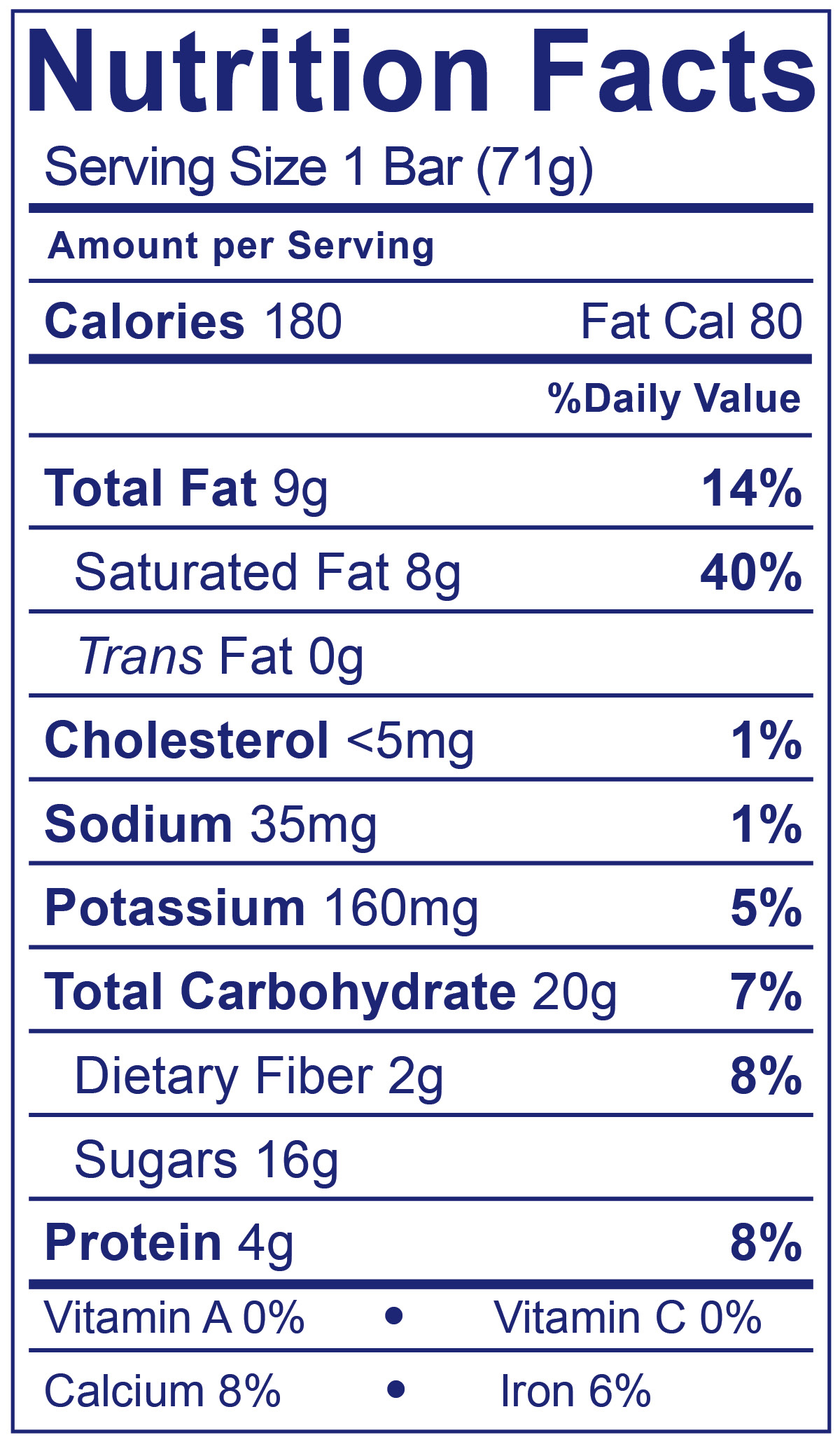 Frozen Yogurt Bars After Dark Chocolate - Nutrition Facts