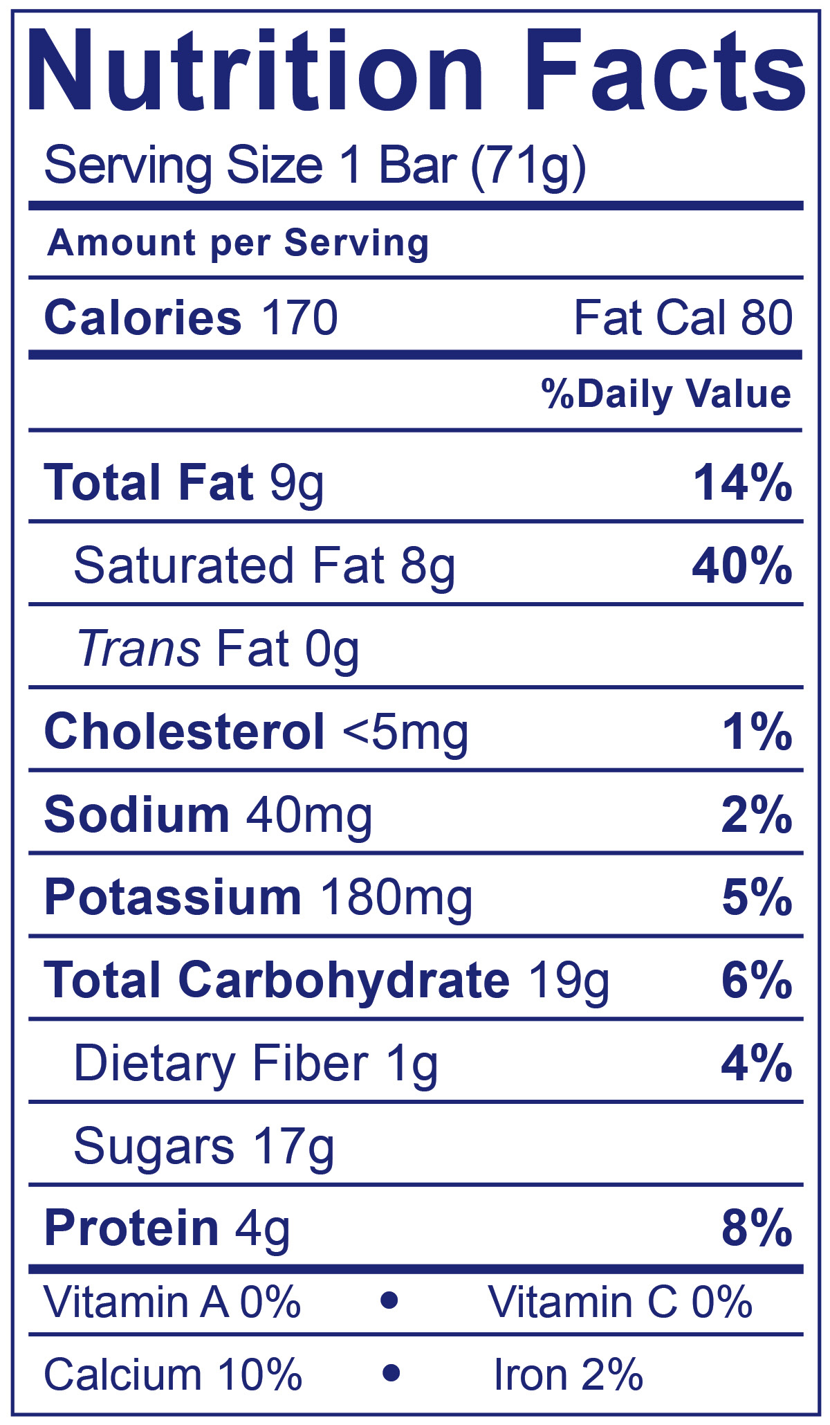 Frozen Yogurt Bars Gotta Have Vanilla - Nutrition Facts
