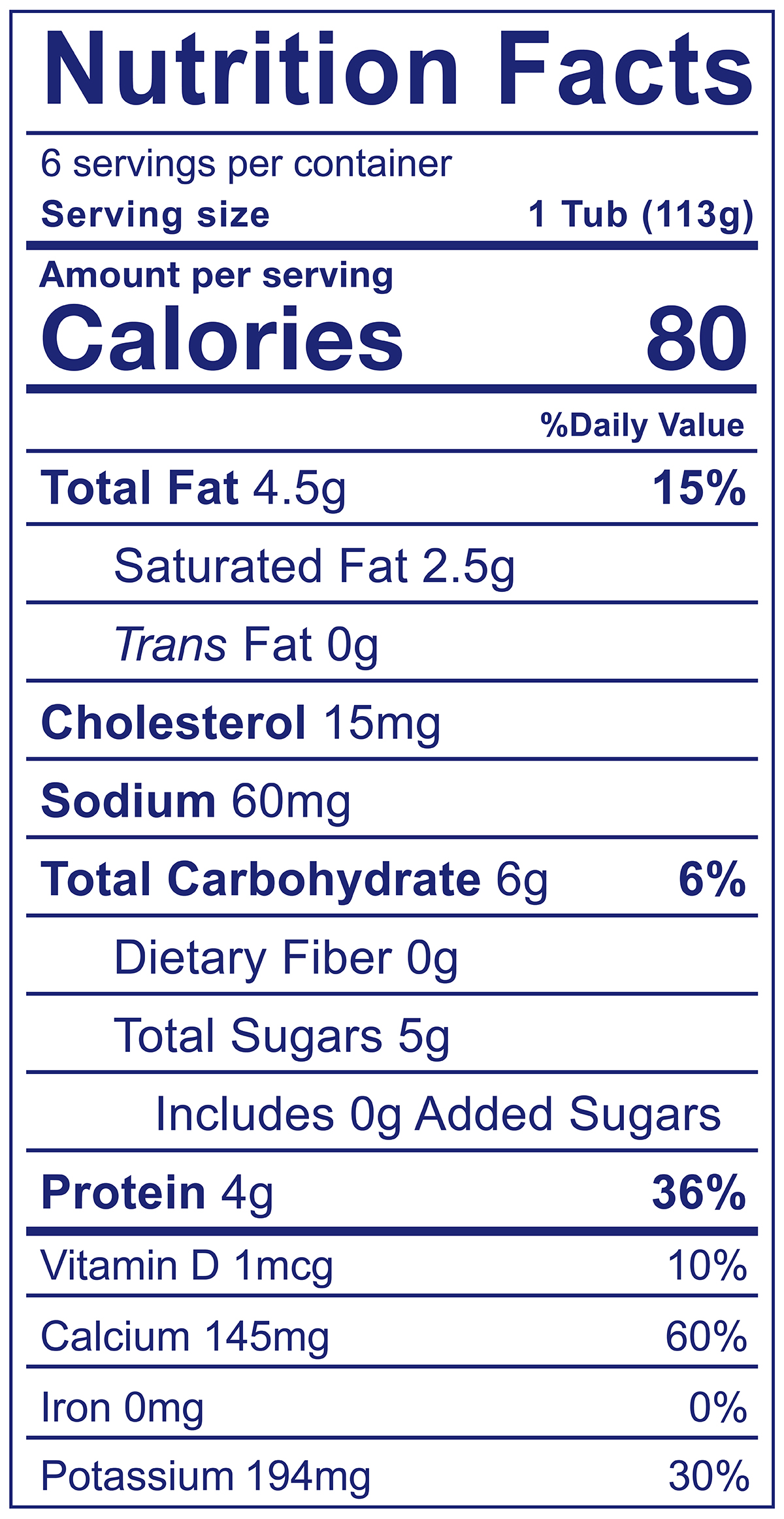 YoBaby Plain - Nutrition Facts