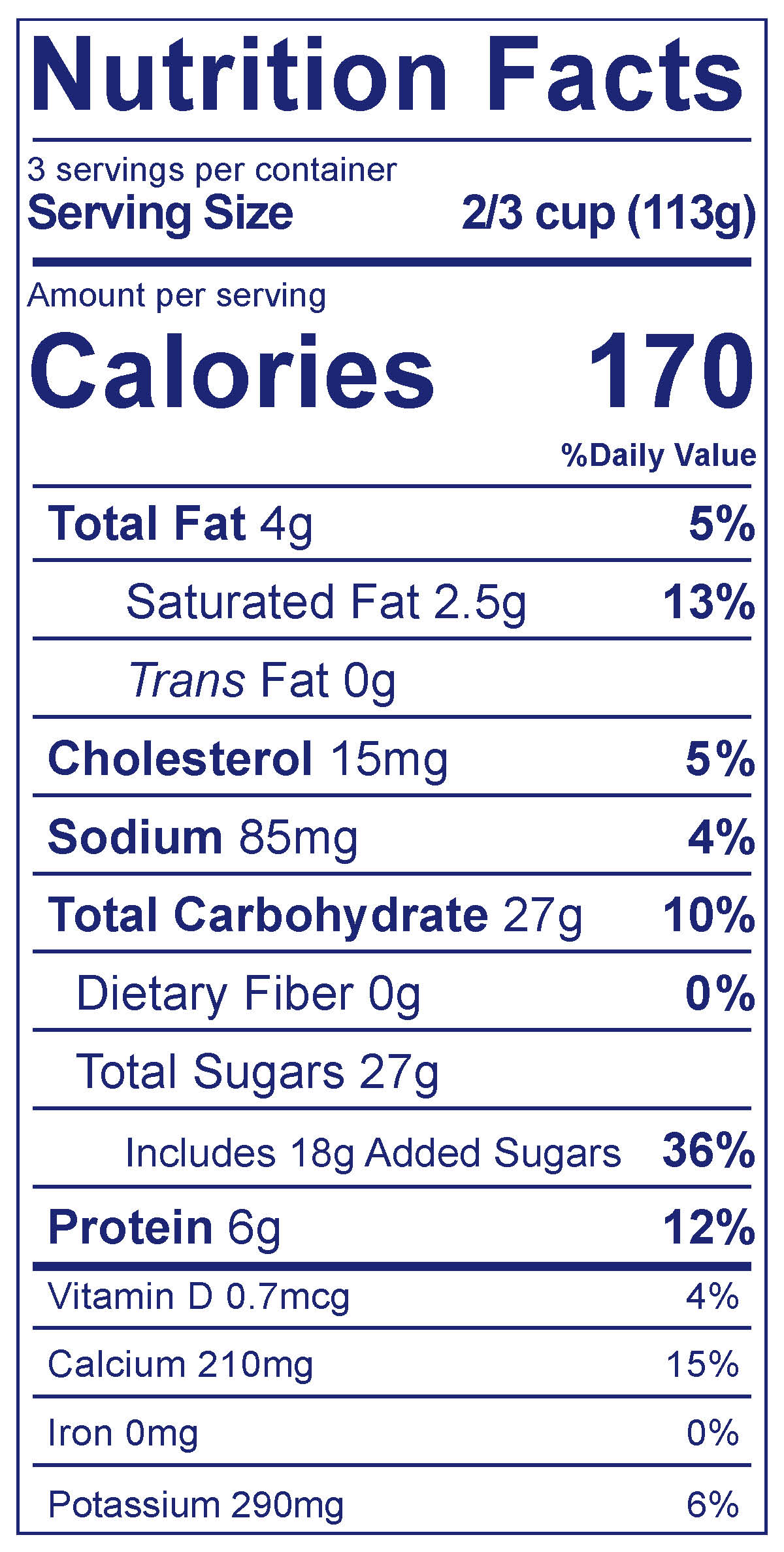 Frozen Yogurt Vanilla - Nutrition Facts