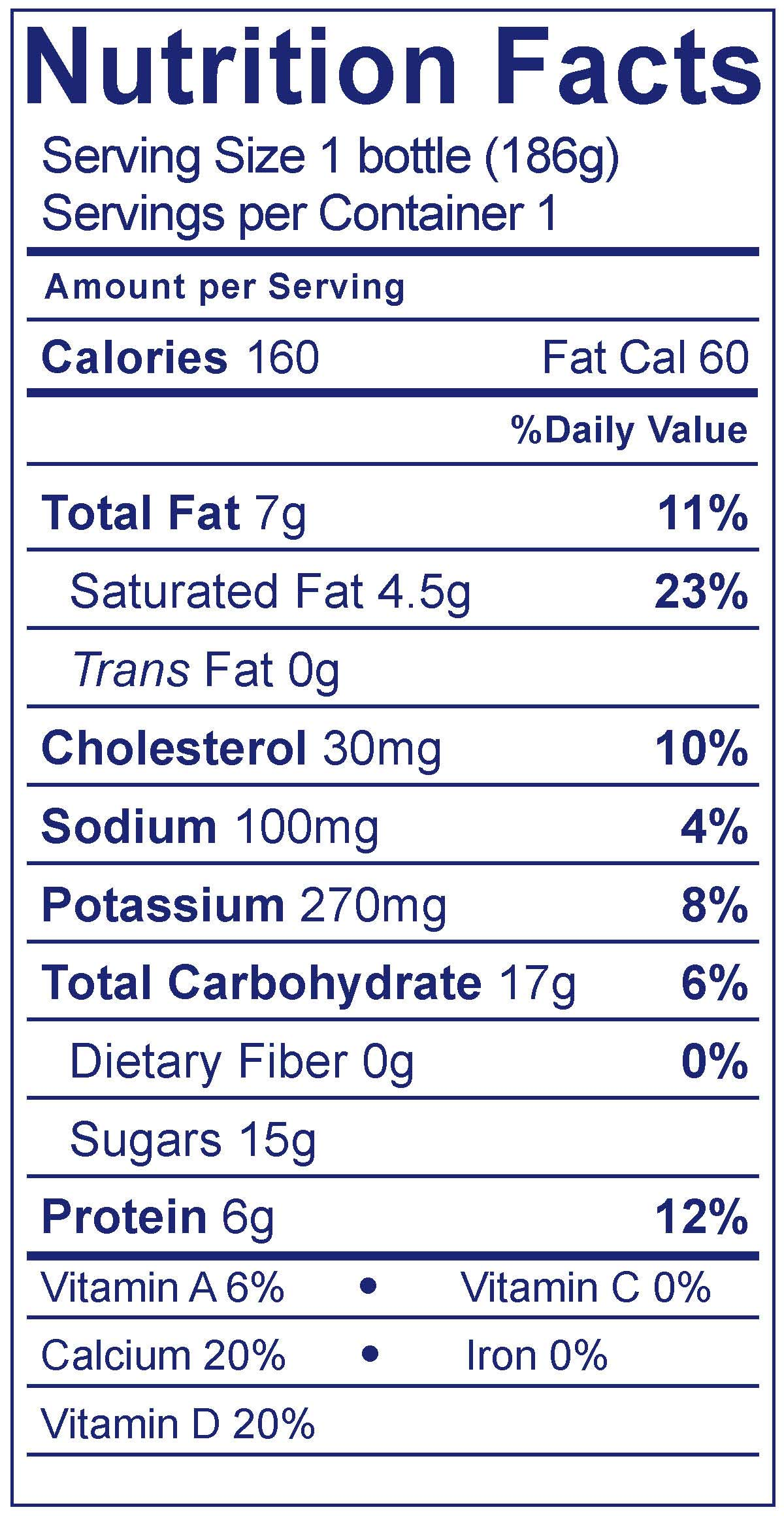 Whole Milk Strawberry Smoothie - Nutrition Facts