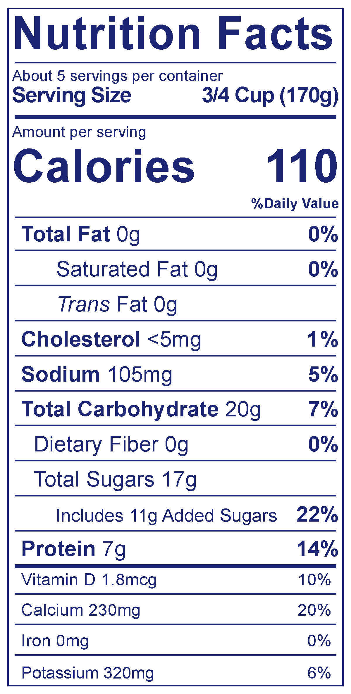 0% Fat Smooth & Creamy Vanilla - Nutrition Facts