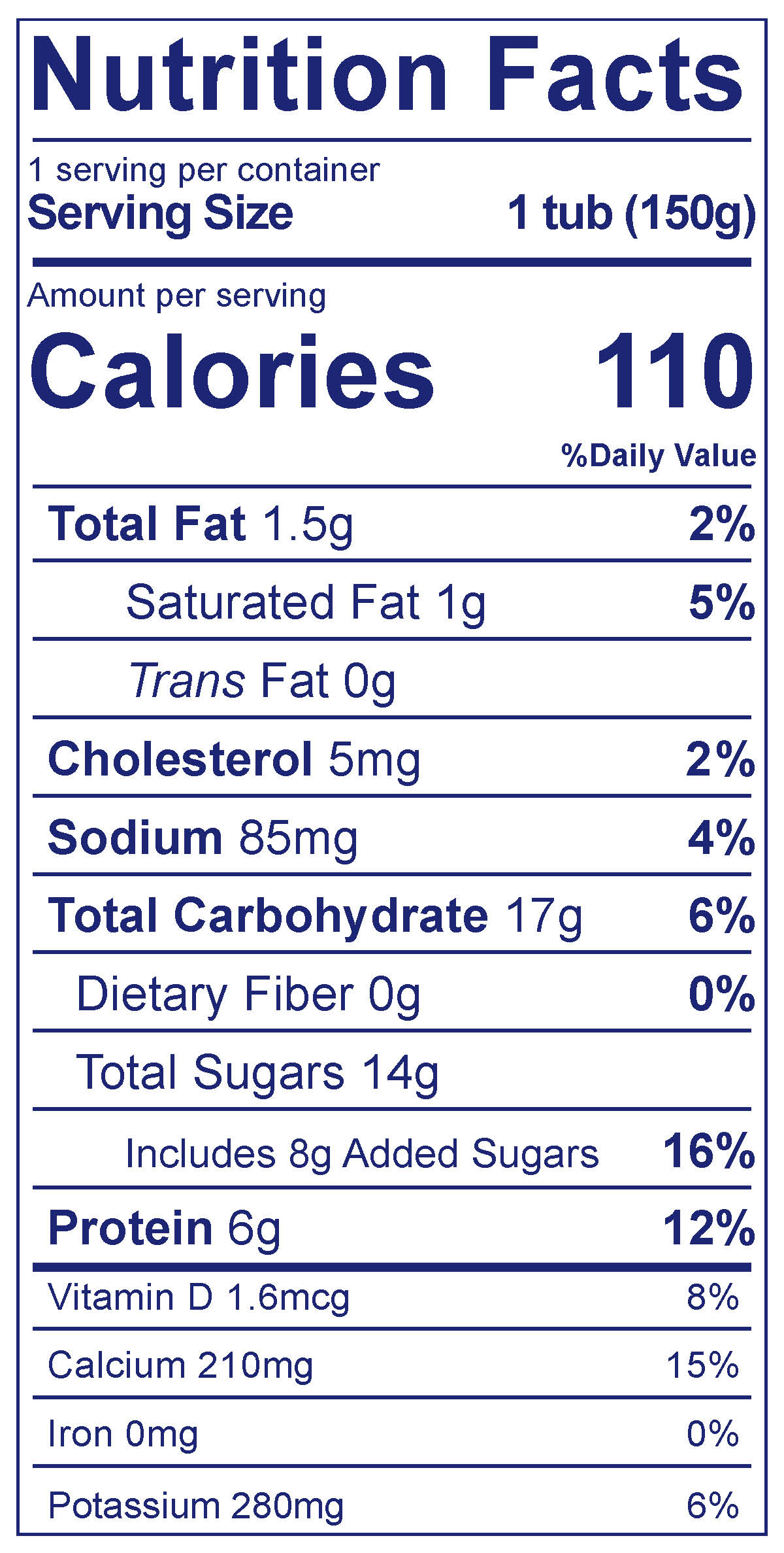 Low Fat Smooth & Creamy Peach - Nutrition Facts
