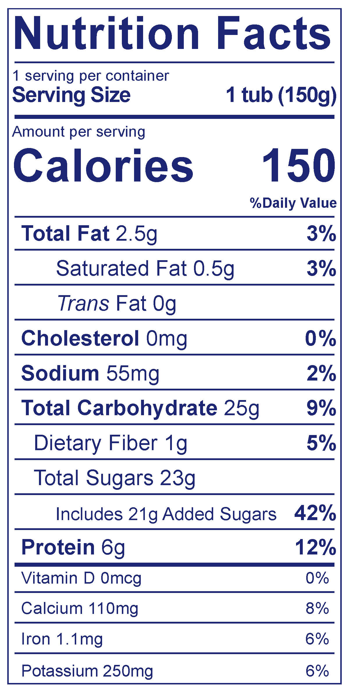 Dairy Free Blueberry - Nutrition Facts