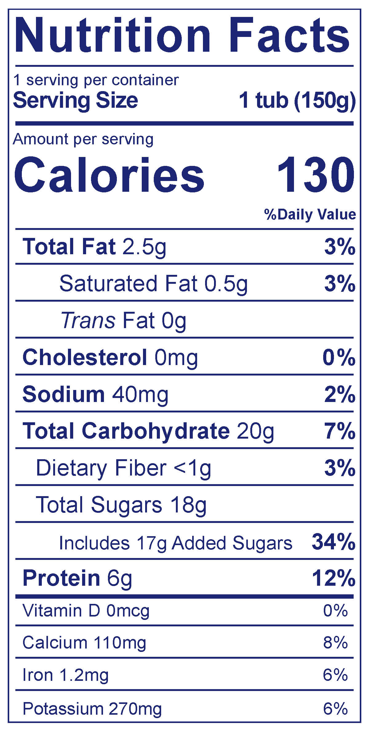 Dairy Free Vanilla - Nutrition Facts