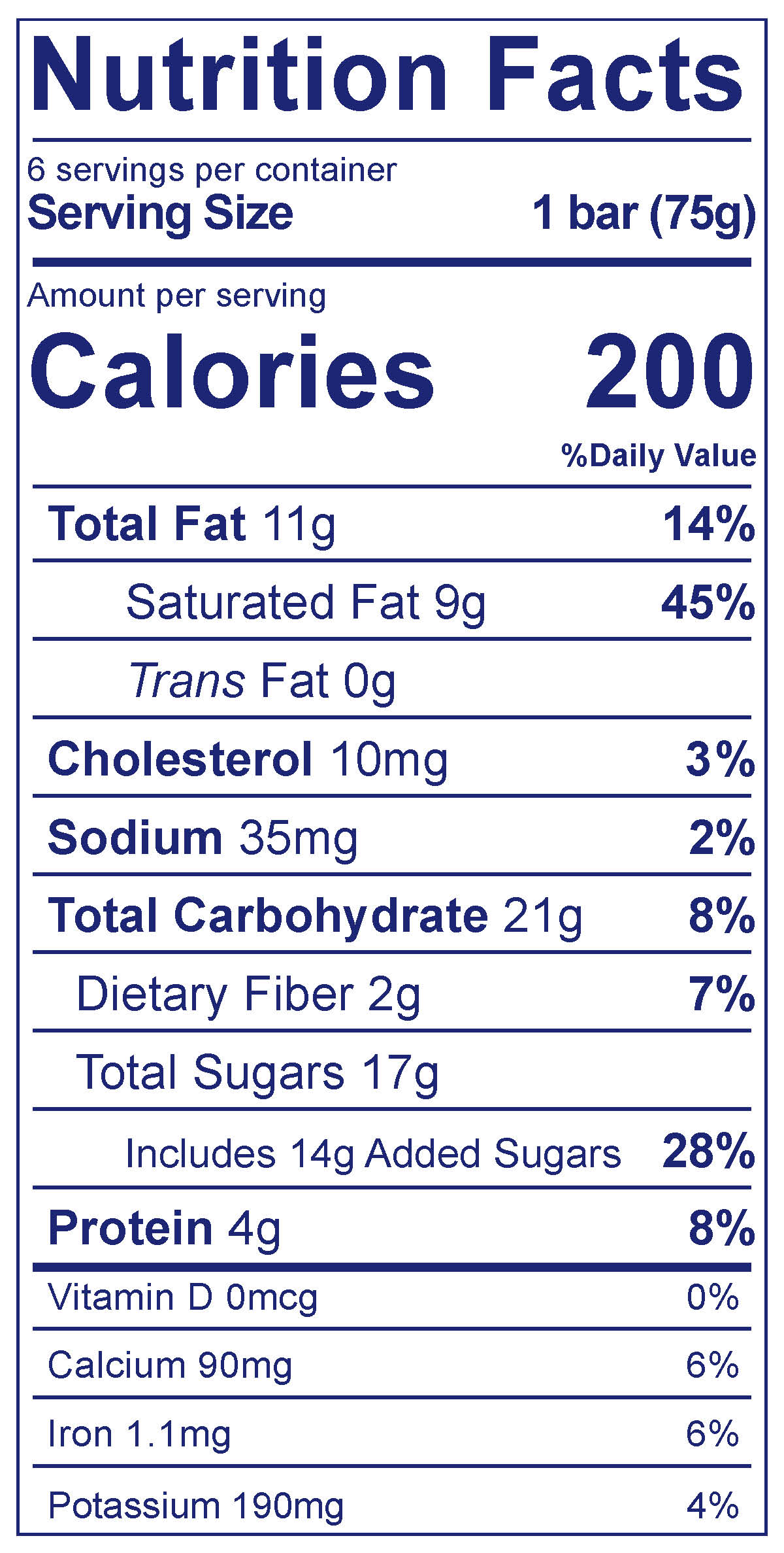 Frozen Yogurt Bars Chocolate - Nutrition Facts