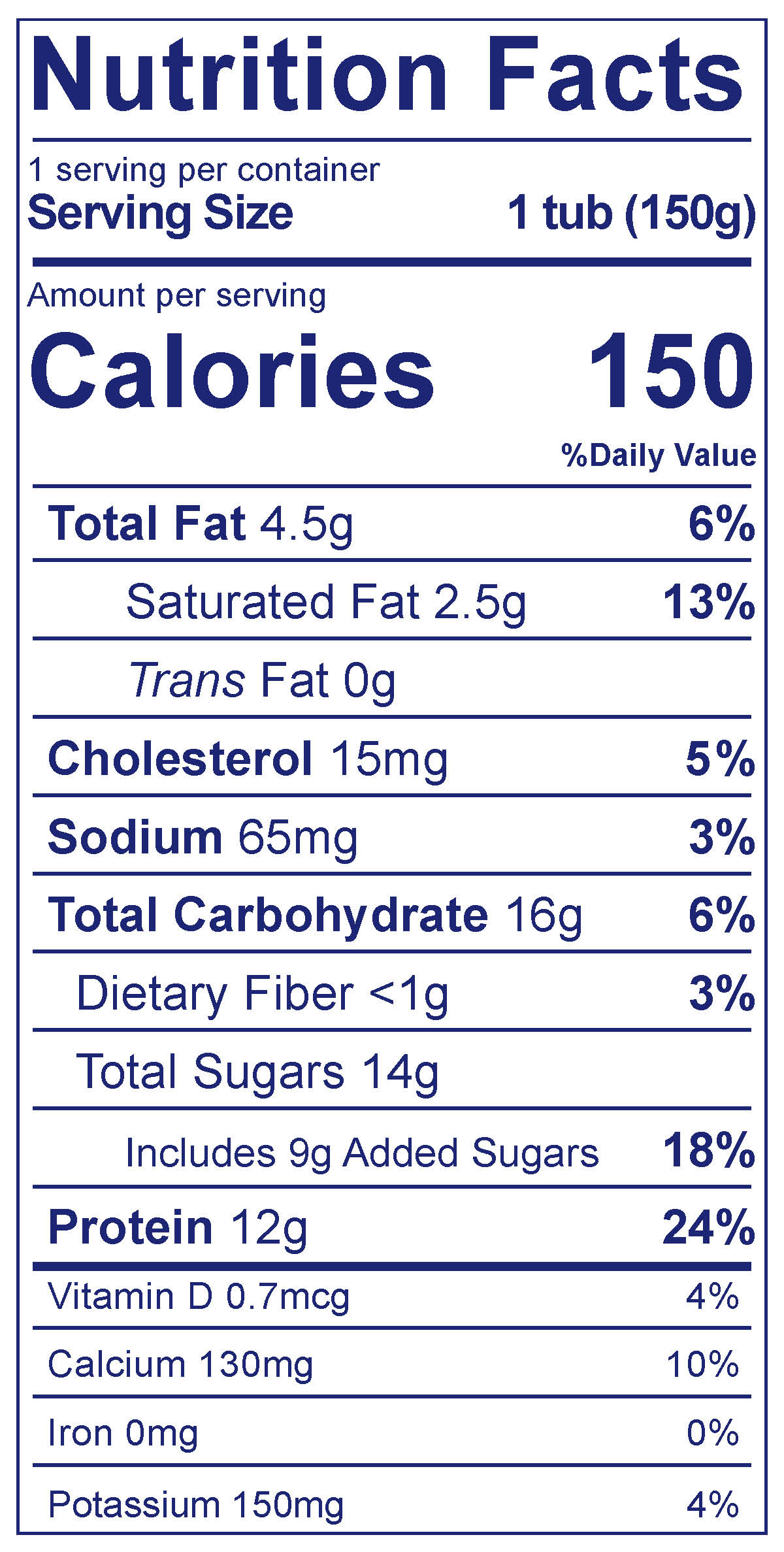 100% Grassfed Greek Blueberry - Nutrition Facts