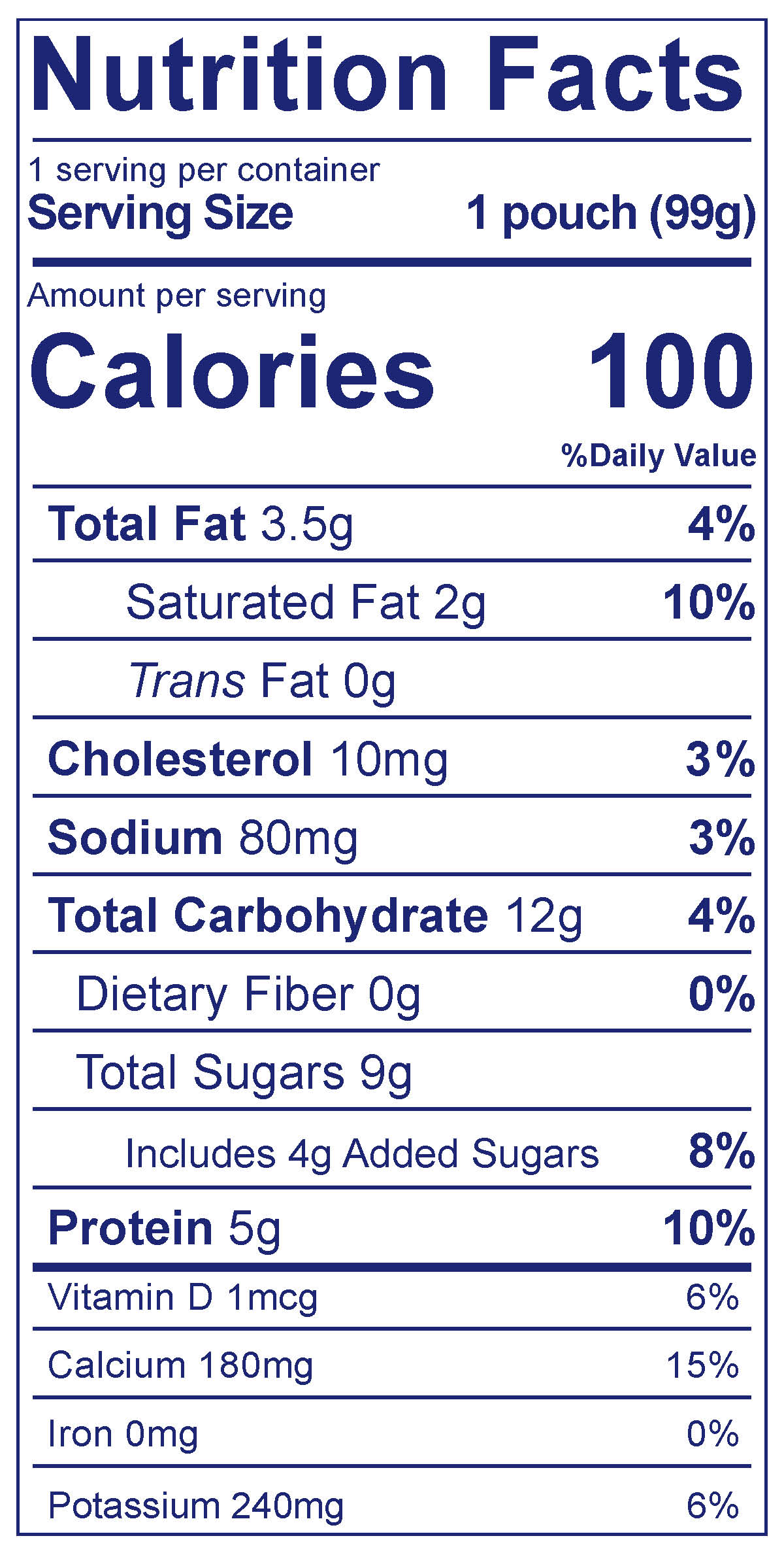 Whole Milk Yogurt Pouch Blueberry Apple Carrot - Nutrition Facts