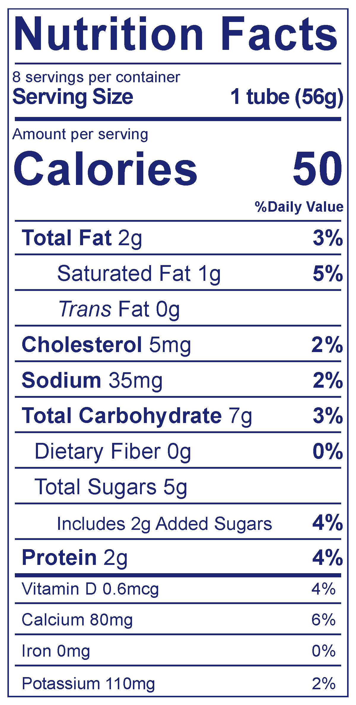 Kids Whole Milk Tubes Strawberry Banana - Nutrition Facts