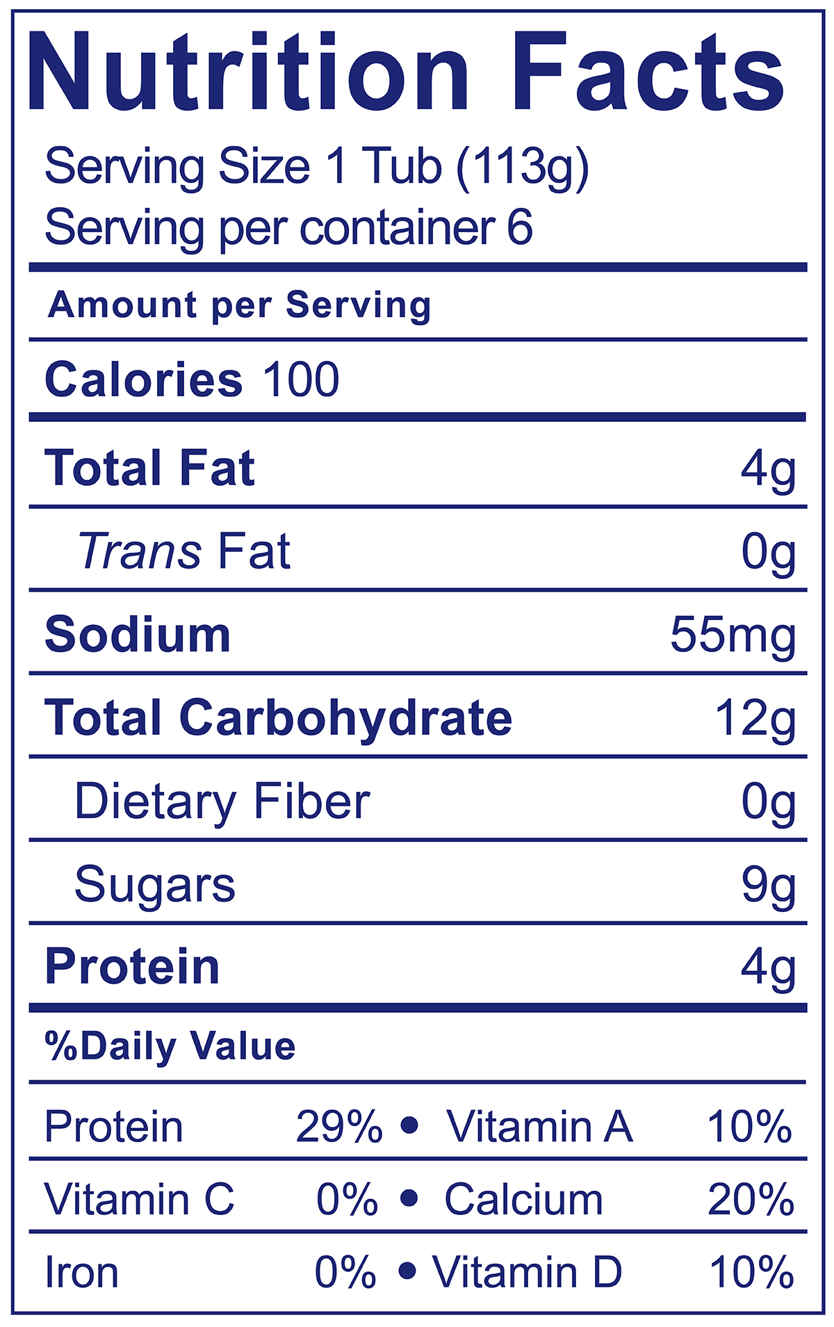 YoBaby Vanilla - Nutrition Facts