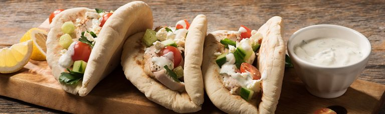 Yogurt keeps these chicken pitas moist and juicy.