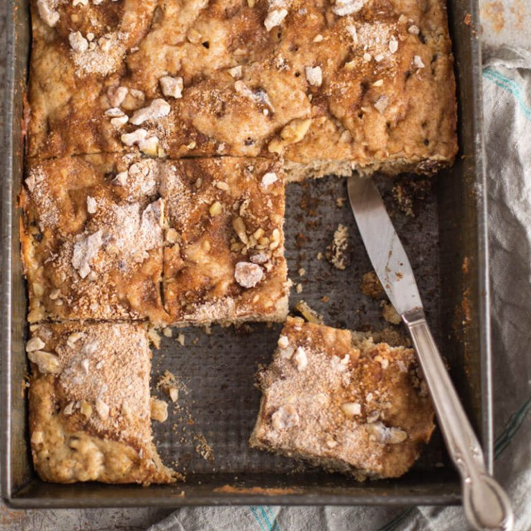 Apple and yogurt coffee cake is moist and delicious