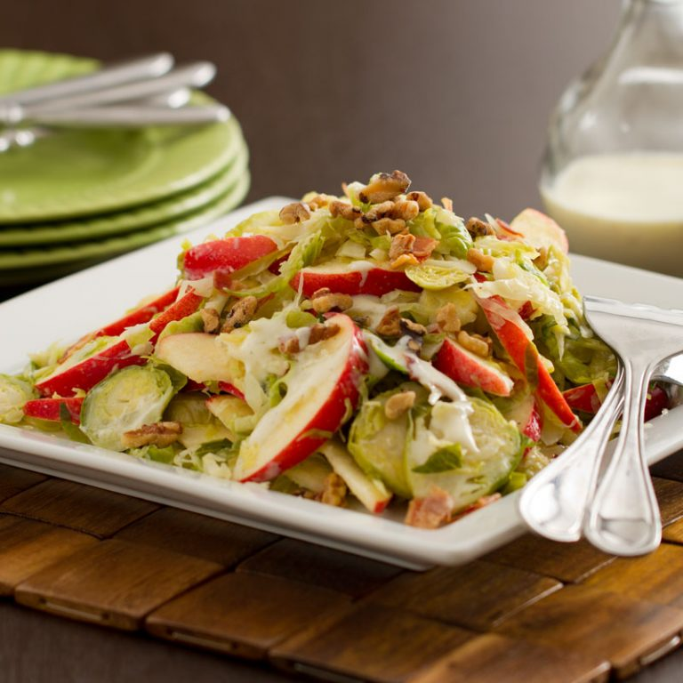Apple and caramelized brussel sprout slaw is a perfect fall dish