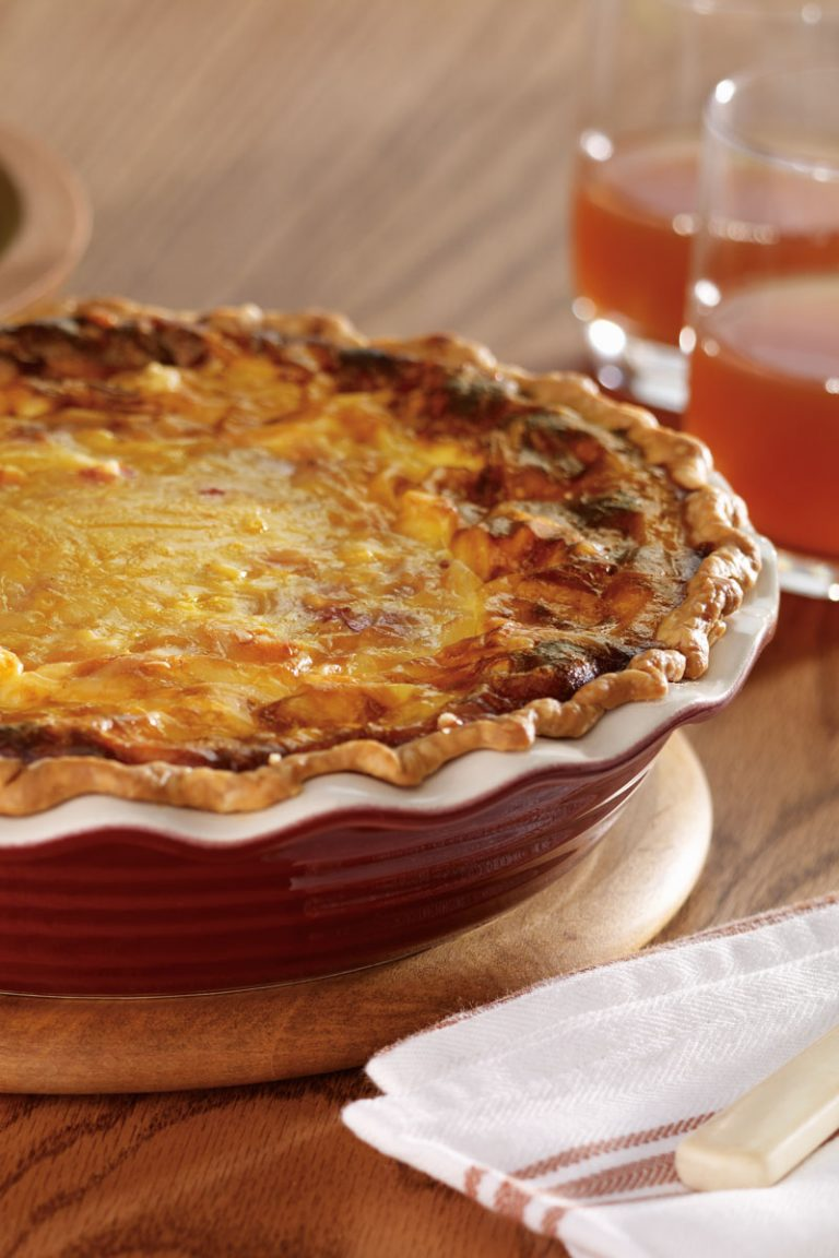 This bacon, sweet potato, and maple quiche is perfect with a light salad for lunch, or with fruit for breakfast.