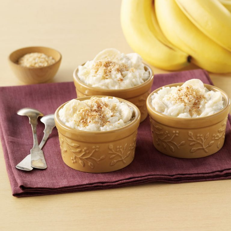 This creamy banana coconut rice pudding is great served warm or cold.