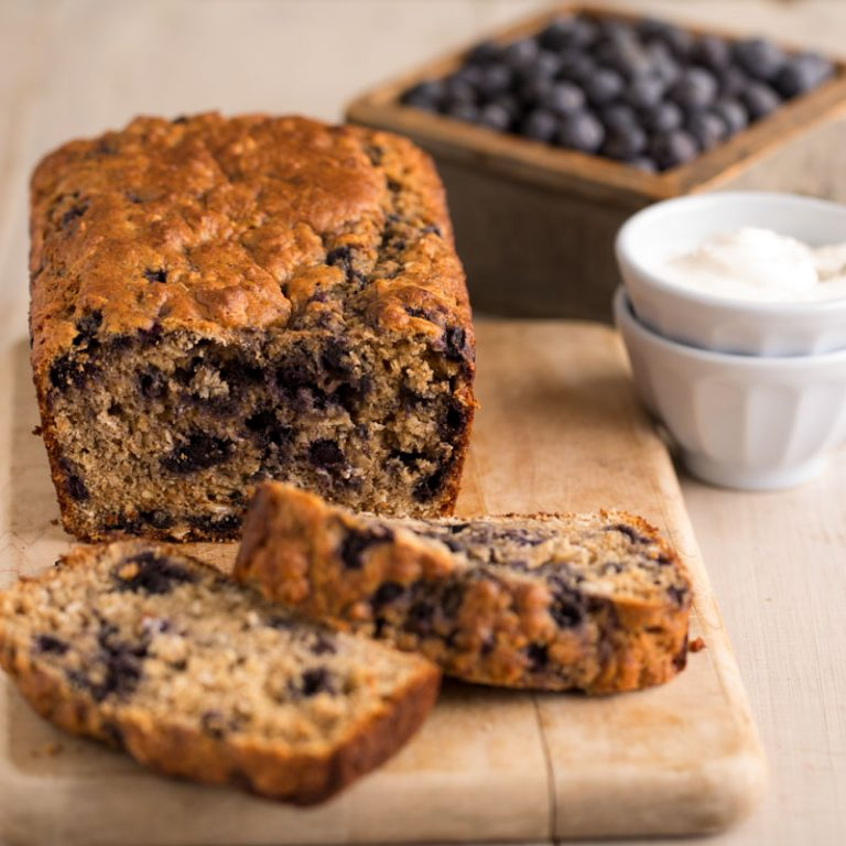 Blueberry oatmeal bread that's moist and hearty.