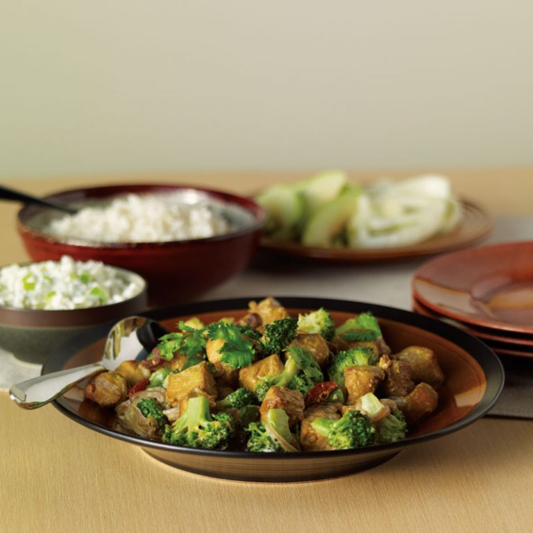 Broccoli and pork stir fry with apple and fennel raita works as both a main dish and side dish.