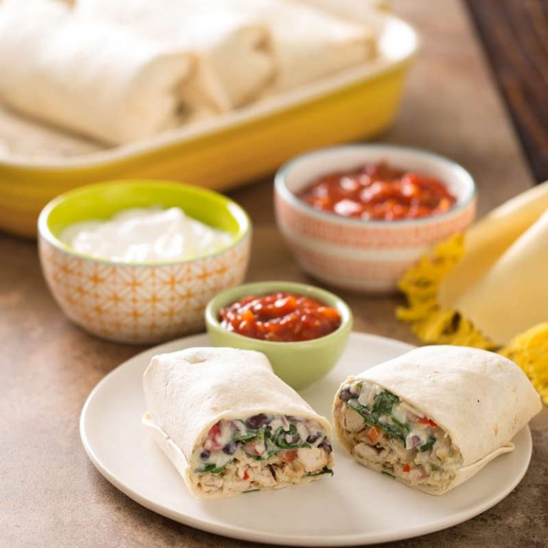 These chicken and spinach burritos can be whipped together in 30 minutes or less!