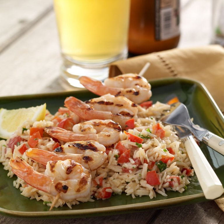 You'll love this sublime combination of coconut rice and grilled shrimp.