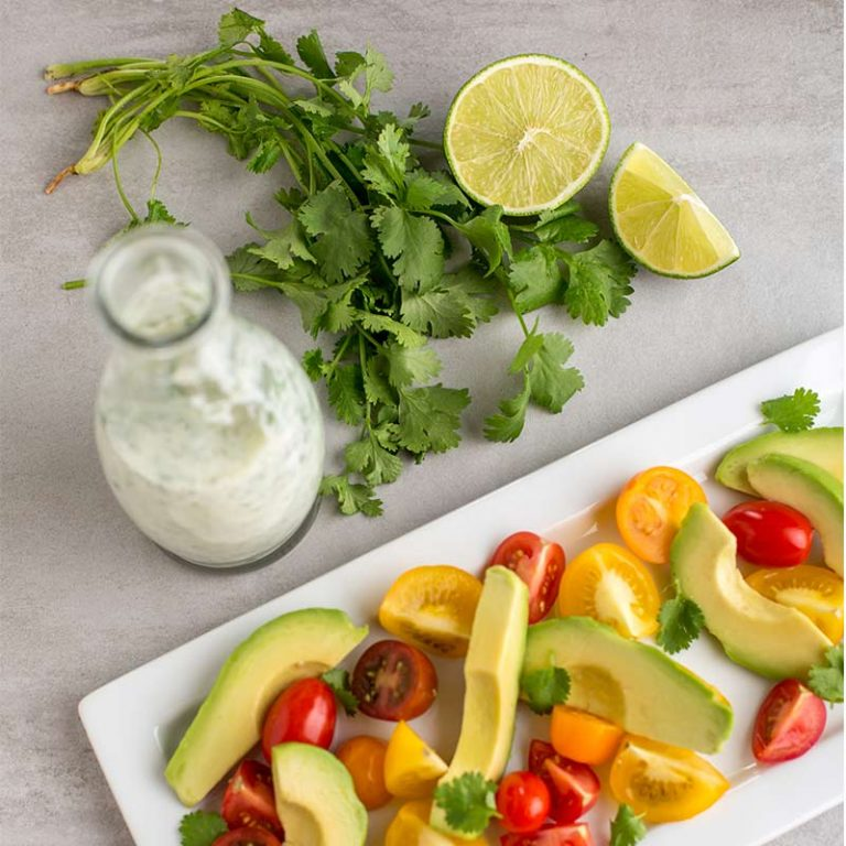 Our cilantro dressing has robust flavors of lime and cilantro.