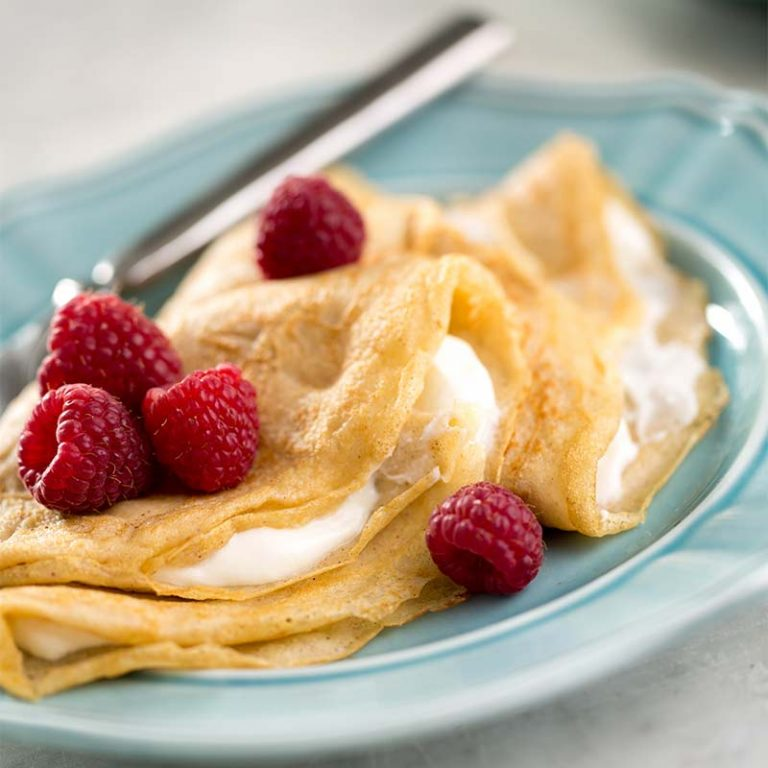 Crepes with yogurt cheese are a great breakfast or dessert treat.