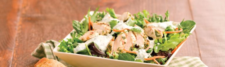 This grilled chicken salad is delicious and easy to make.