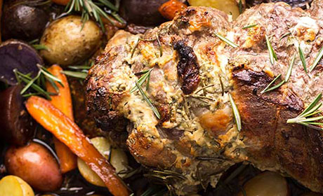 Roasted Leg of Lamb with Yogurt Mint Marinade