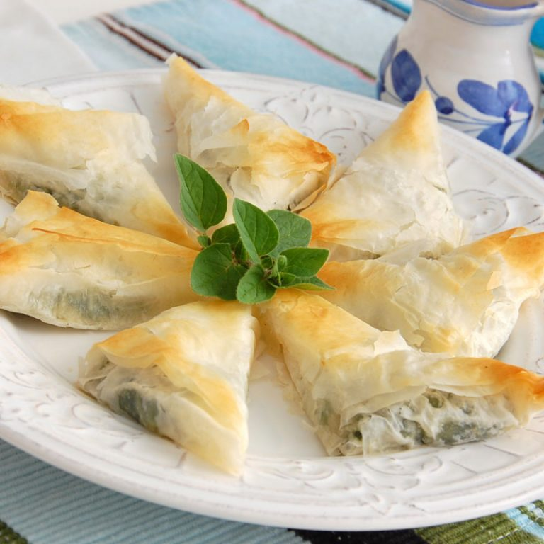 Our spanakopita is made with feta, spinach, and Stonyfield Organic Greek Yogurt.