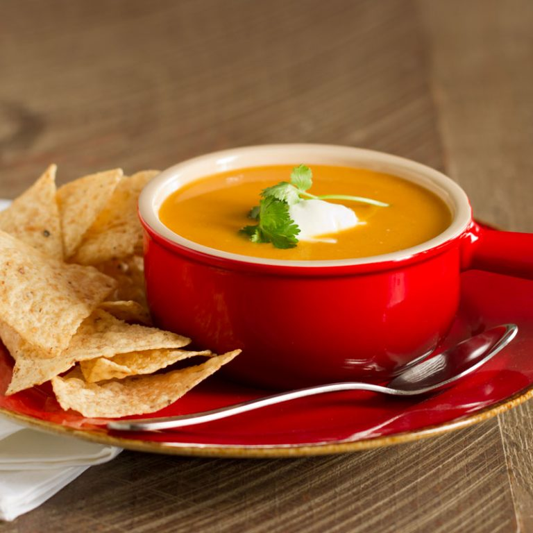 This spicy sweet potato chipotle soup is simple to make and delicious!