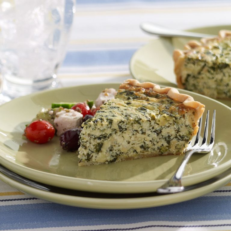 This spinach pie is earthy and filled with cheesy goodness.
