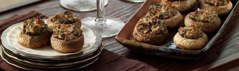 Earthy, spinach-stuffed mushrooms are a great appetizer.