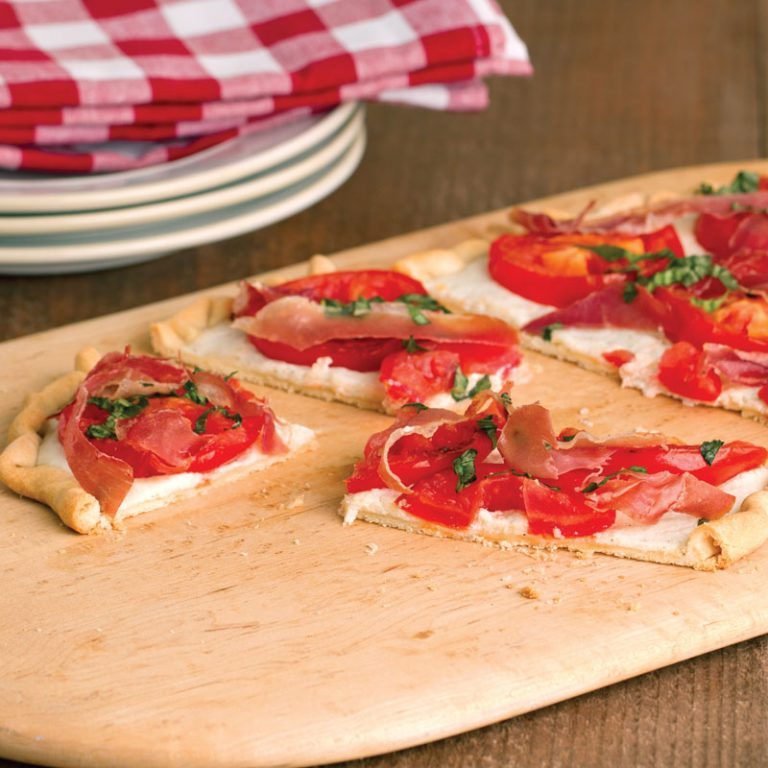 This tomato and ricotta pie is great with summer tomatoes from the garden!