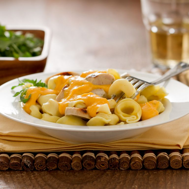 This yummy tortellini with sausage and butternut squash is a cozy meal for cold days.