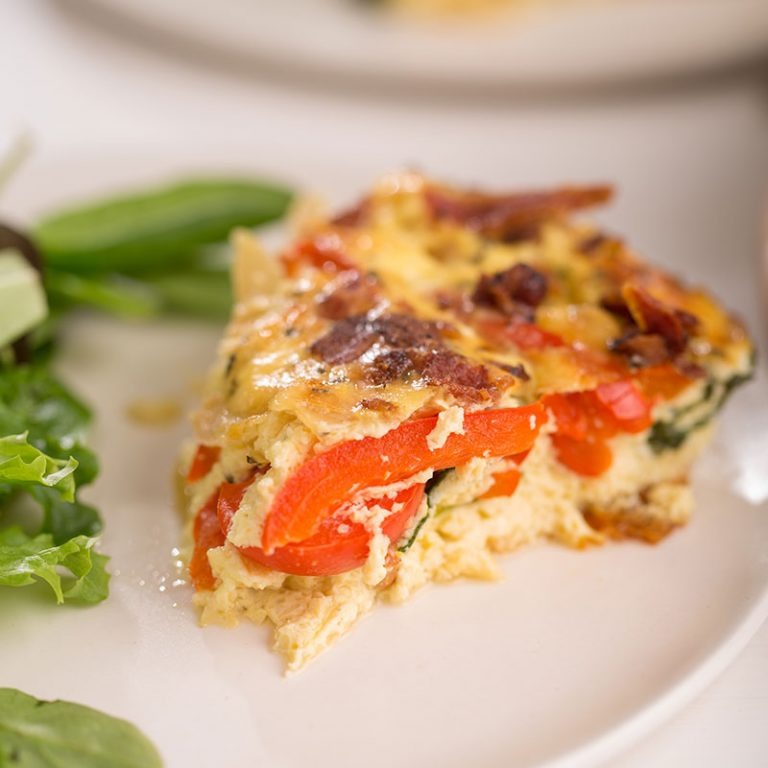 Veggie and bacon frittata is perfect for breakfast or brunch.