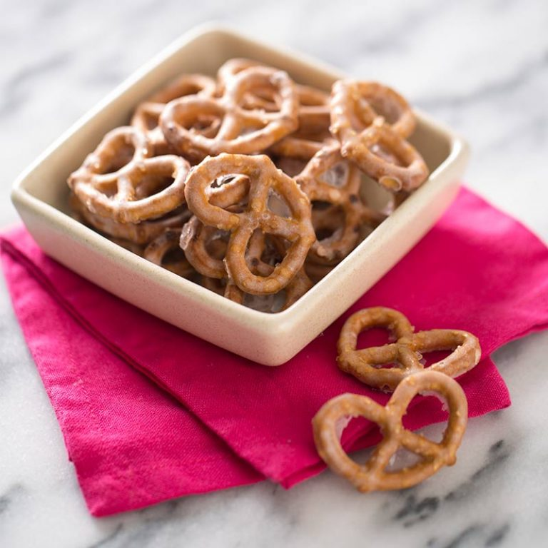 Try these yogurt covered pretzels as a tasty snack.