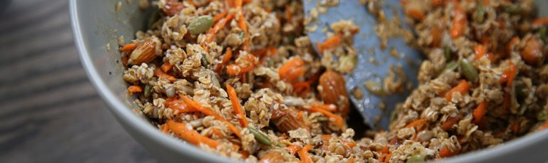 This crunchy carrot granola is chock full of pumpkin seeds and almonds.
