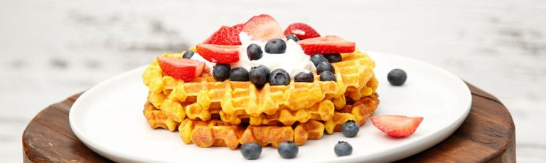 Try our pumpkin waffles topped with fresh fruit or yogurt!