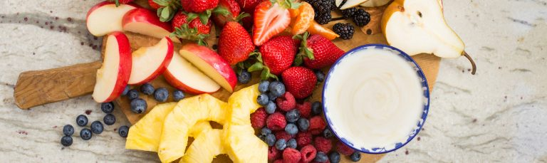 Make this sweet and easy maple yogurt fruit dip for a quick snack!