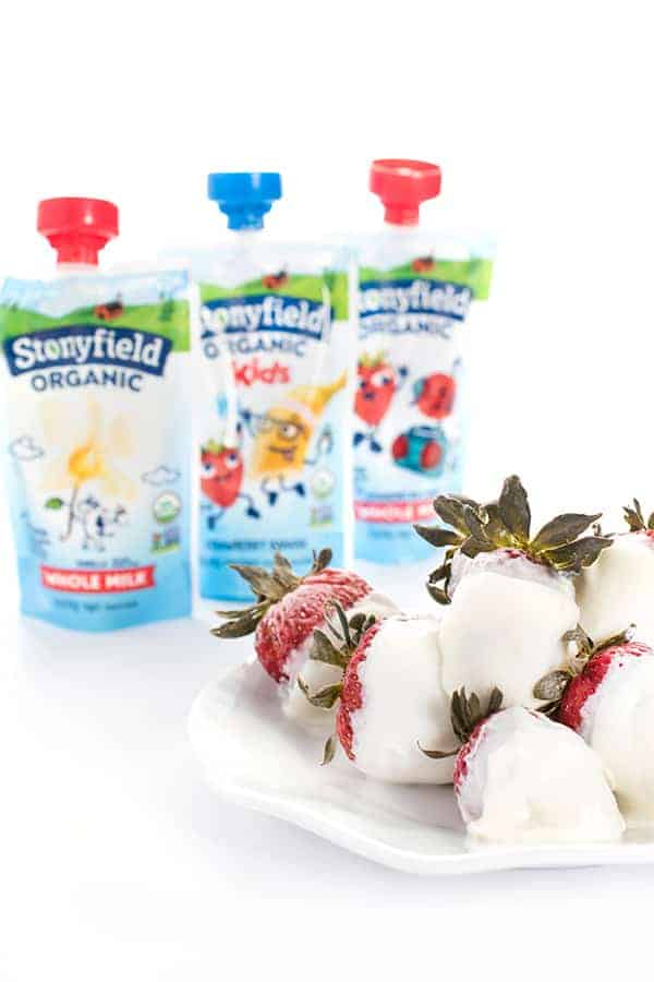 Frozen Yogurt Coated Strawberries with Stonyfield