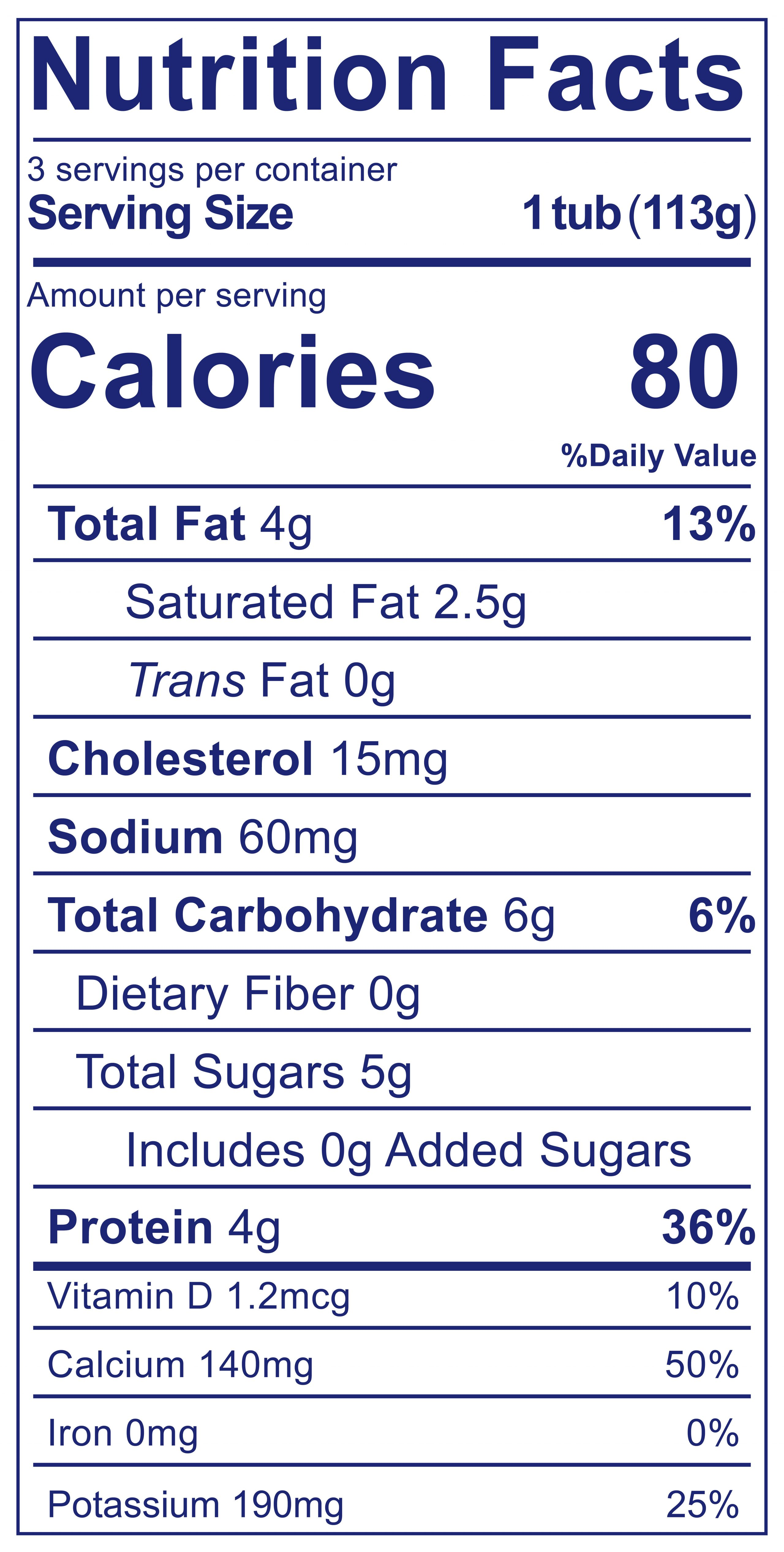YoBaby Sweet Potato Nutrition Label