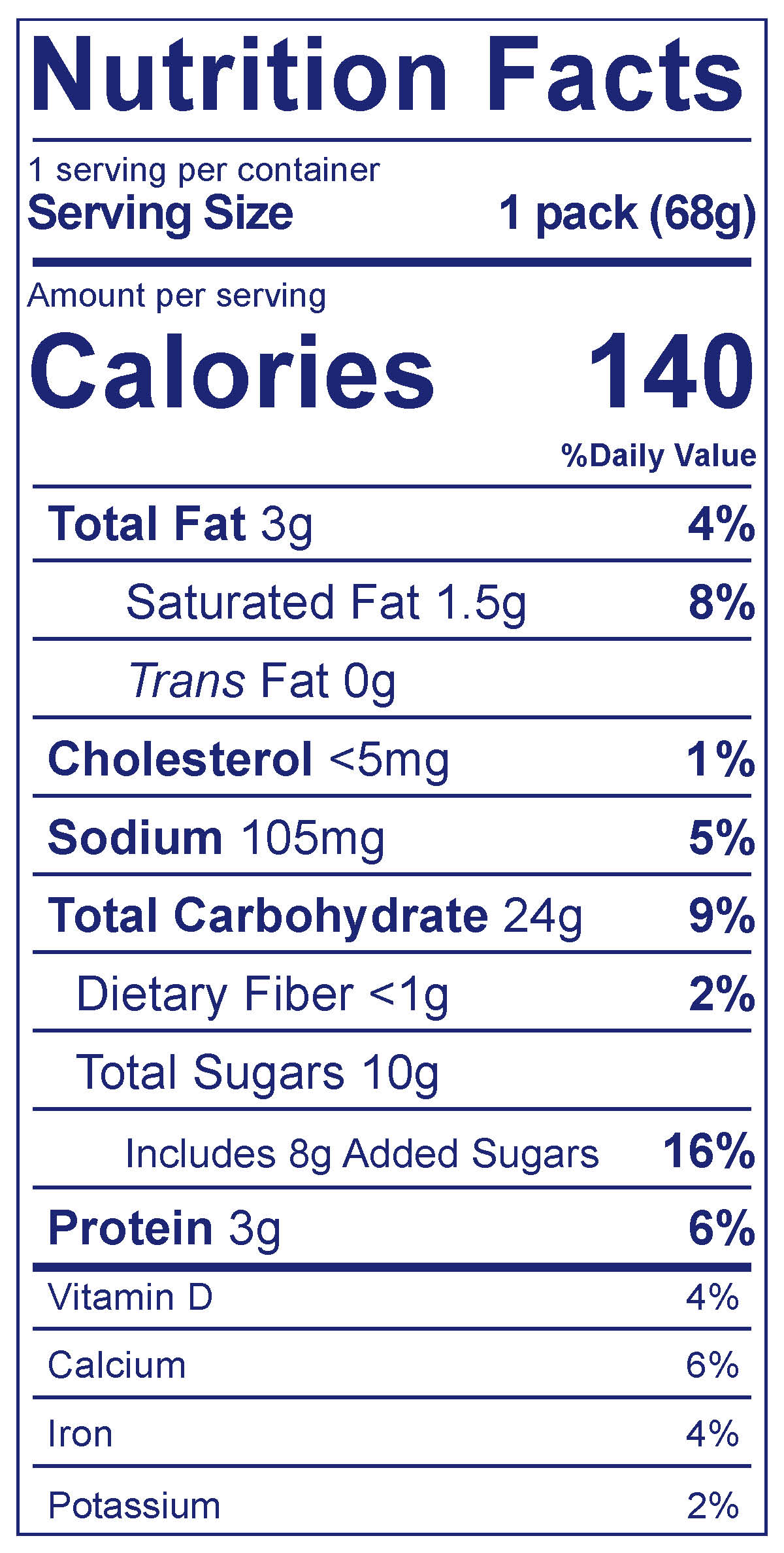 Strawberry & Chocolate Chip Cookie Snack Pack - Nutrition Facts